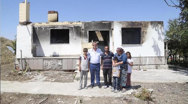Evi Yanan Aileye Gölbaşı Belediyesi'nden Yardım Eli