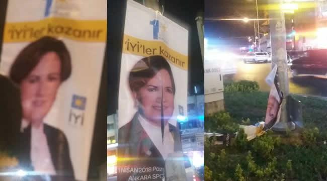 İYİ Parti'nin Etlik'teki Kurultay Pankartlarına Saldırı