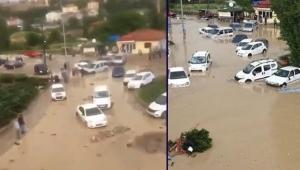 ANKARA'DA SEL! Tüm Mahalle Sular Altında Kaldı, Sel Arabaları Sürükledi: 6 Yaralı