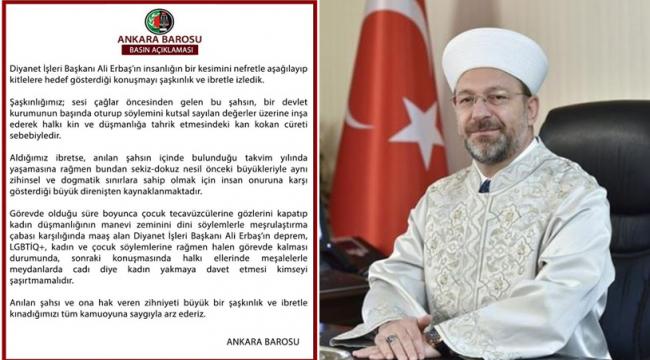 Ankara Barosu'nun Erbaş hakkındaki suç duyurusunda soruşturmaya yer olmadığı kararı çıktı