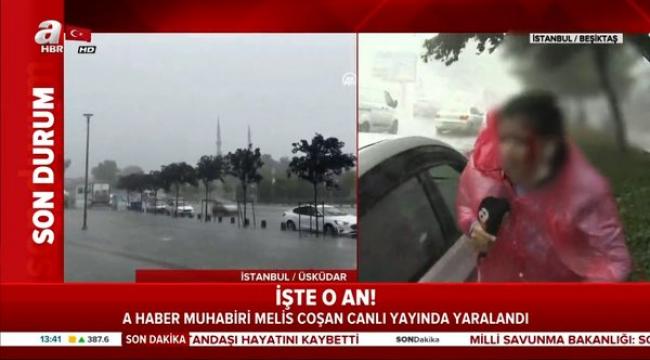 Dolu yağışı sırasında yayın yapan muhabir kanlar içinde kaldı