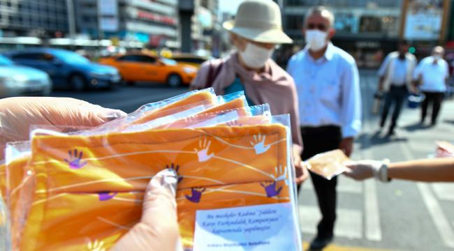 Başkent'ten kadına şiddete karşı yükselen yanıt, turuncu maske