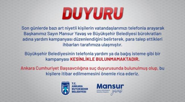 Ankara Büyükşehir Belediyesi'nden telefonla bağış isteyenlere karşı uyarı