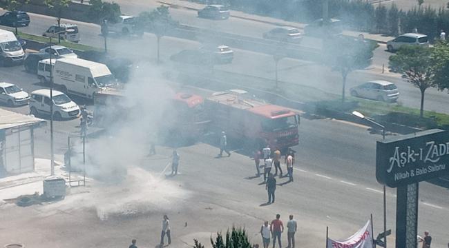 Başkent'te hareket halinde yanan araç kullanılmaz hale geldi