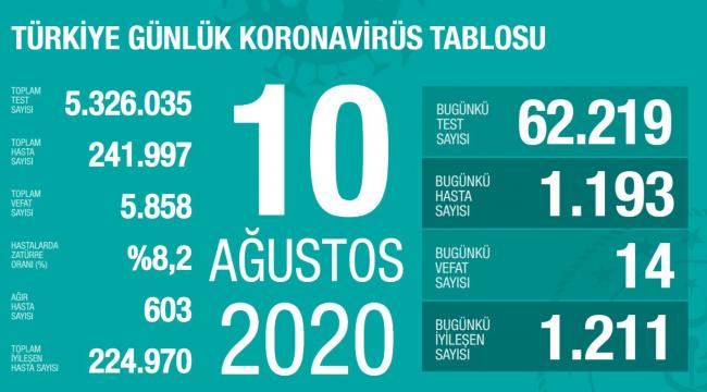 Türkiye'de koronavirüs salgınında bugün bin 193 yeni vaka