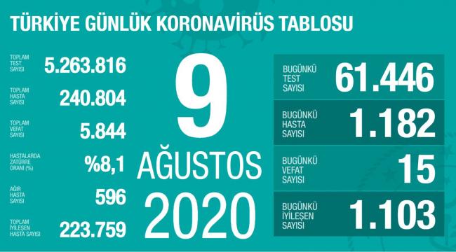 Türkiye'de koronavirüsten son 24 saatte bin 182 yeni vaka tespit edildi